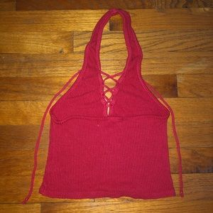 Urban Outfitters Tops - Red Halter Lace Up Crop Top